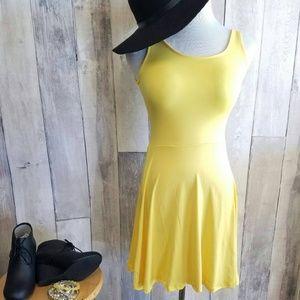 Yellow Skater Sleeveless Scoop Neck Dress Boutique